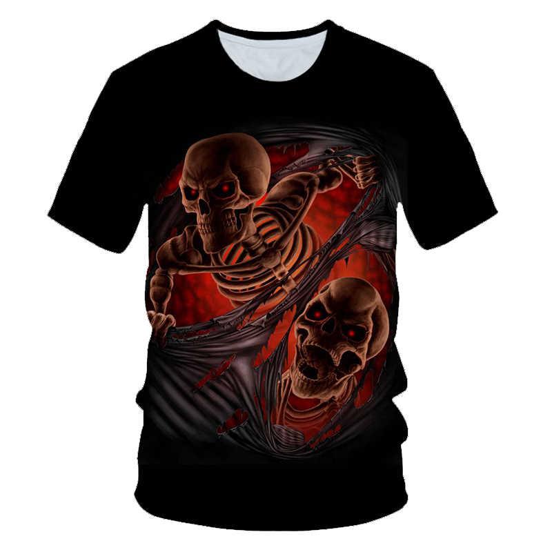 الجمجمة شبح لهب تي شيرت الرجال الموسيقى تي شيرت 3d الغيتار بلايز عارضة المعادن قميص طباعة الظلام القوطية أنيمي الملابس بارد قمم