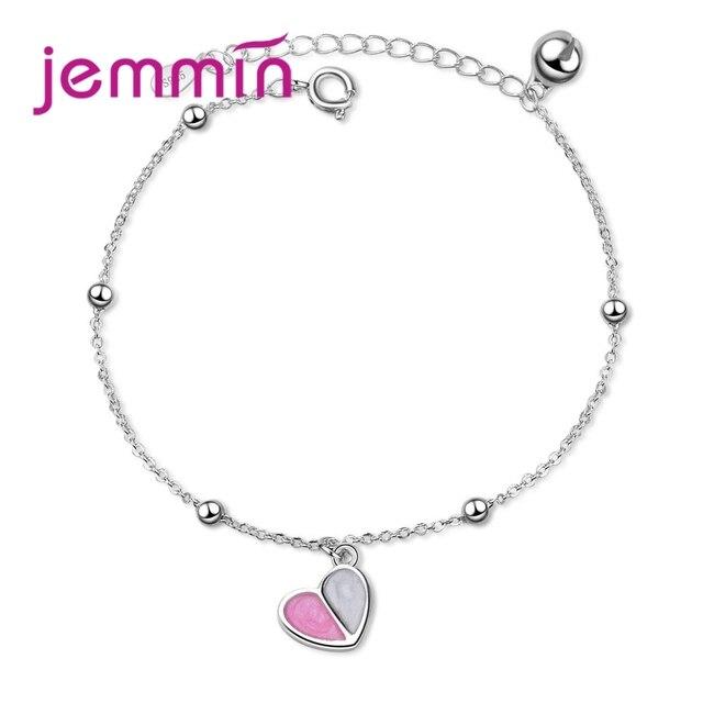 Jemmin Hình Trái Tim Mặt Dây Chuyền Vòng Đeo Tay Đồ Trang Sức 925 Sterling Silver Charm Thương Hiệu Thiết Kế Ngọt Ngào Cho Phụ Nữ Đồ Trang Sức Mỹ Miễn Phí Vận Chuyển
