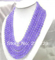 Wholesale price FREE SHIPPING AD Fashion 6 Strands 6mm Purple Jade Necklace