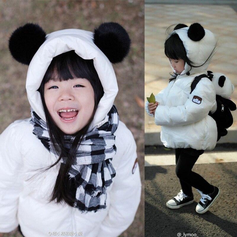 Sıcak Satış 2016 Kış Çocuk erkek Kız Aşağı Ceket Karikatür Panda uzun Kollu Fermuar Bebek Kalın Sıcak Çocuklar Ceket Ceket L-61 Giydirin