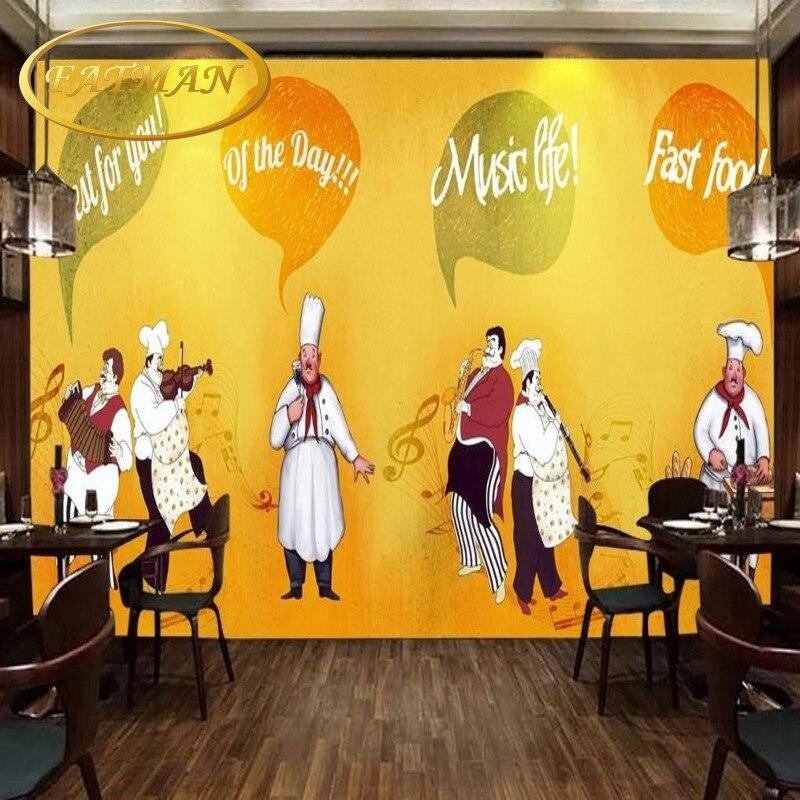 Custom Photo Wallpaper Western Food Chef Backdrop