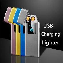 Новая ультра-тонкая электрическая зажигалка для сигарет сенсорный usb-зажигалка с отпечатком пальца перезаряжаемая нагревательная проволочная зажигалка