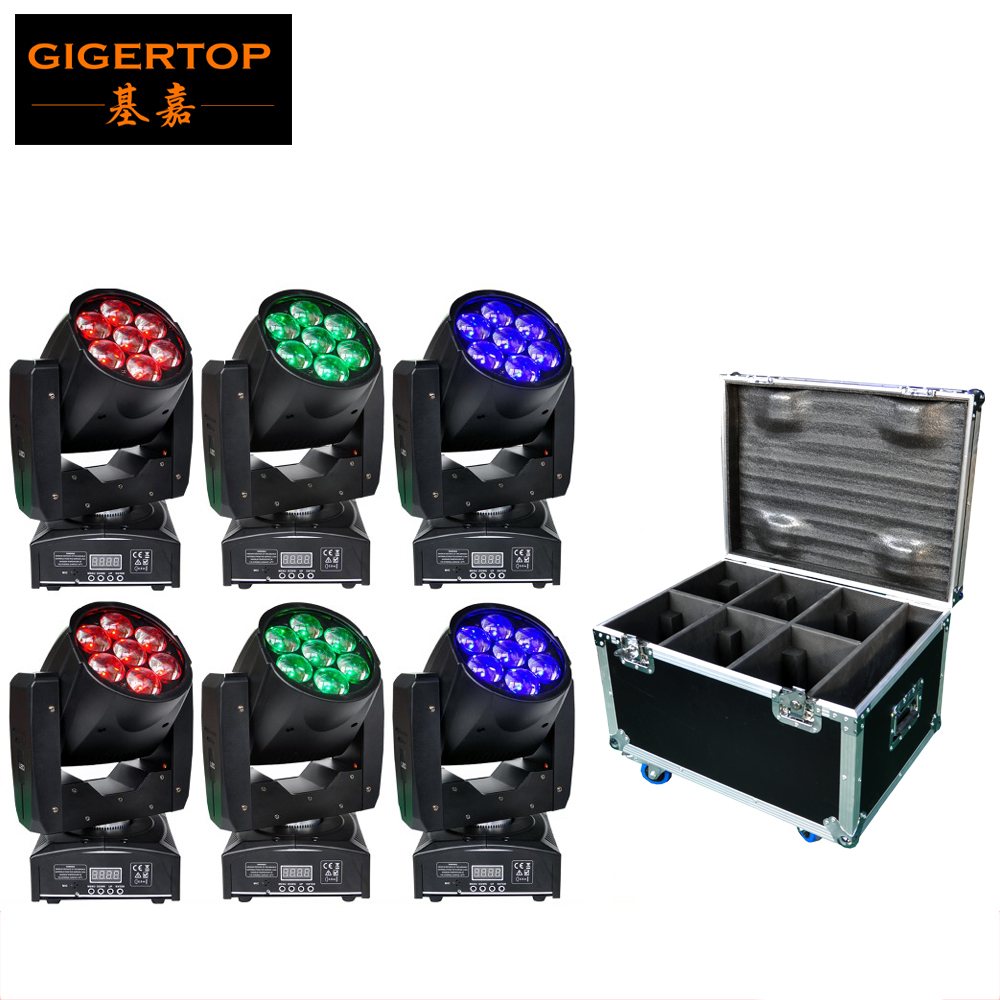 Musicians Gear Rack Flight Case 6 Space Black 6XLOT TP-PL6W5 7x12W RGBW Color 4IN1 LED Zoom Moving Head Washer Stage Lighting