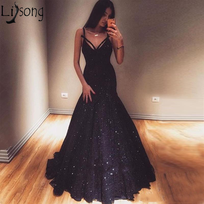 Navy Blue Lace Mermaid   Prom     Dresses   V Neck Spaghetti Straps Sleeveless Floor Length Formal Evening Gowns Zipper Up Party   Dress