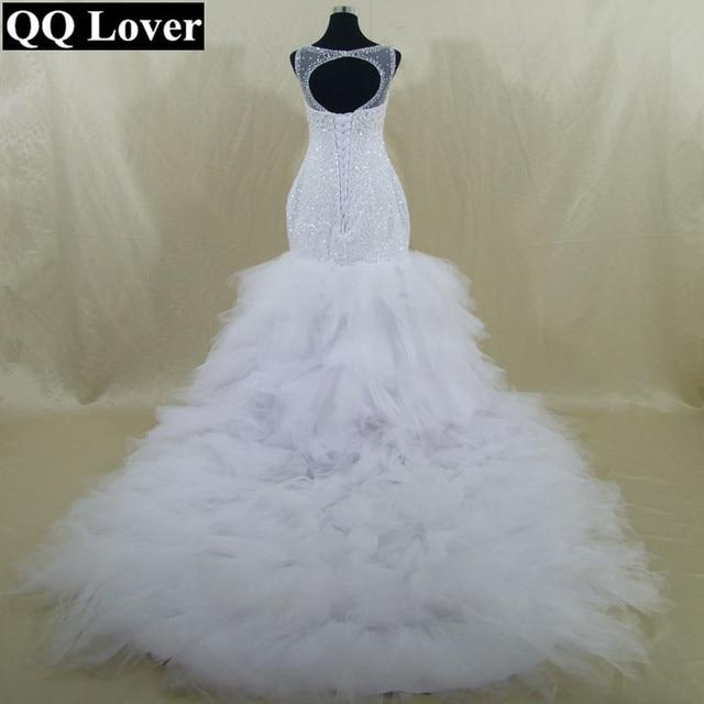QQ Lover 2018 New African Big Train Mermaid Wedding Dress
