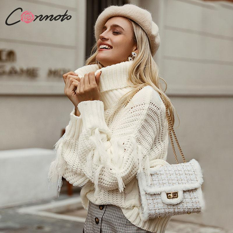 Conmoto Solid Deep Gray Casual Women Sweaters 2019 Winter Turtleneck Knitwear Sweater Oversized Tassel Knitted Pullovers Jumpers