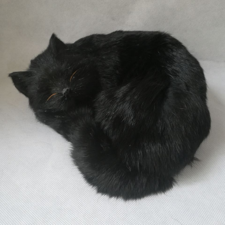 Real Life Toy Black Cat Model About 25x15cm Polyethylene&furs Sleeping Cat Model Home Decoration Props ,model Gift H0729