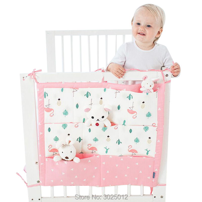Baby Bed Storage Pockets Storage Bag Crib Organizer Toy Diaper Pocket for Crib Bedding Set Baby Cot Bed Hanging Storage Bag