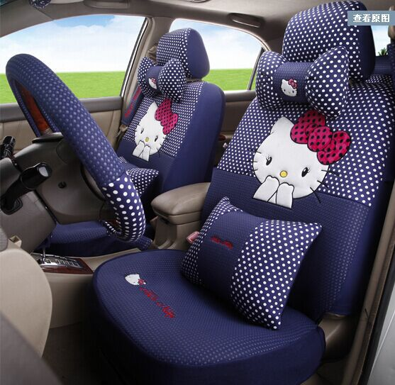 Blue Hello Kitty Polka Dot Car Seats Cover Leopard Fans Decoration Accessories