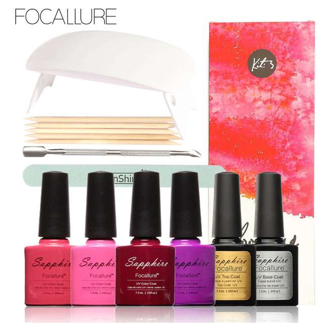 Focallure UV Gel Kit Soak-off Gel Polish Gel Nail Kit Nail Art Tools Sets Kits Manicure with Sunuv 6w LED UV Lamp for All Gels