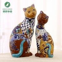 Керамическая Высший сорт Ретро ручной работы Lucky Cat Home Decor ремесел украшения комнаты бар старинные украшения фарфоровая статуэтка животного