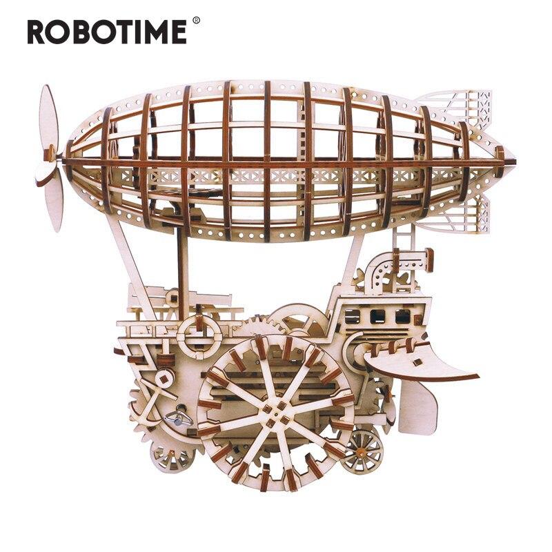 Robotime diy movimentação de engrenagem de dirigível móvel por clockwork 3d modelo de madeira kits de construção brinquedos hobbies presente para crianças adulto lk702