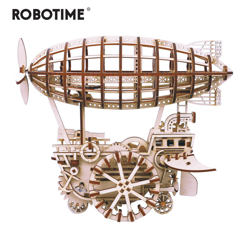 Robotime DIY Moveable Airship Gear Drive by Clockwork 3D Wooden Model Building Kits Toys Hobbies Gift for Children Adult LK702 image