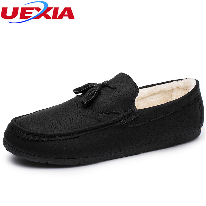 UEXIA New Arrival Winter Footwear Comfortable Driving Shoes Casual Men Shoes Warm Tassel Loafers Flats Fur Slip On Fashion Suede