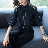 2018 New Spring Autumn High Quality OL Women S Shirt Silk Long Sleeve Elegant Hit Color