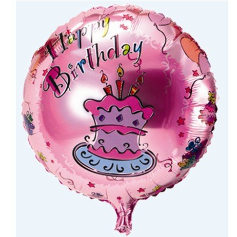 2pcs Happy Birthday Cake Printed Foil Helium Balloon 18inch Round For Baby Shower Party Layout