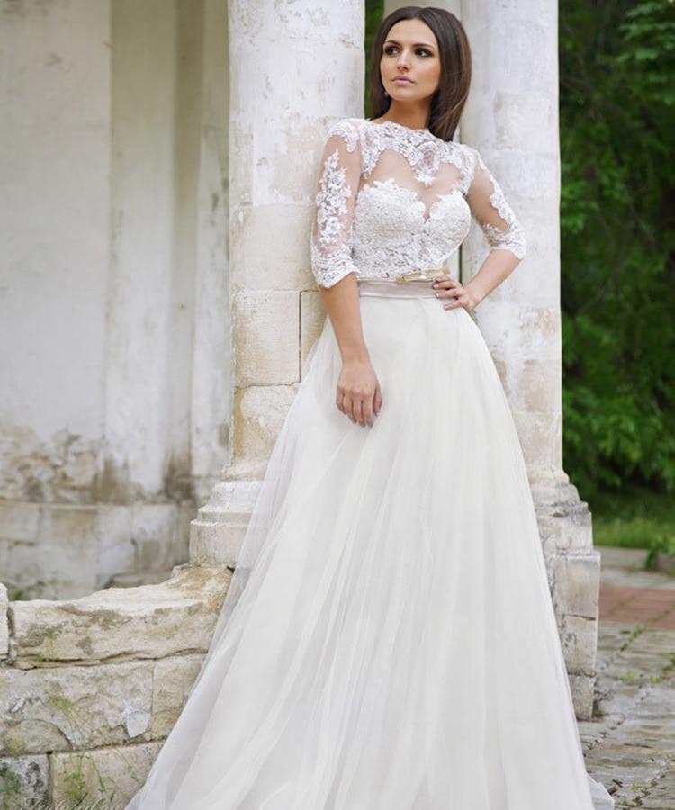 Heart Shaped Back Wedding Dress Half Sleeve Liques Lace Tulle
