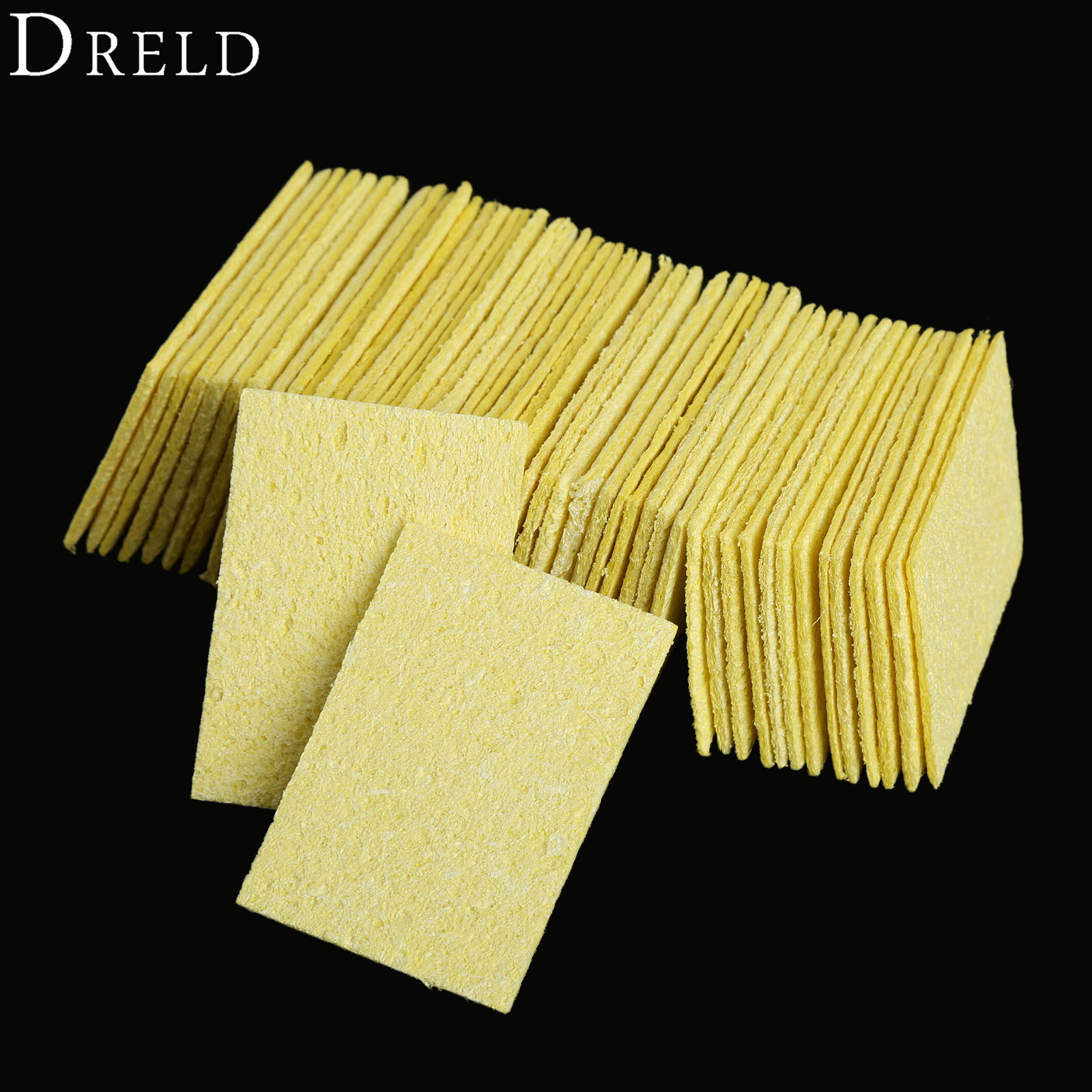 DRELD 50pcs Clean Tool High Temperature Enduring Condense Electric Welding Soldering Iron Cleaning Sponge Pads Yellow 50*35*2mm