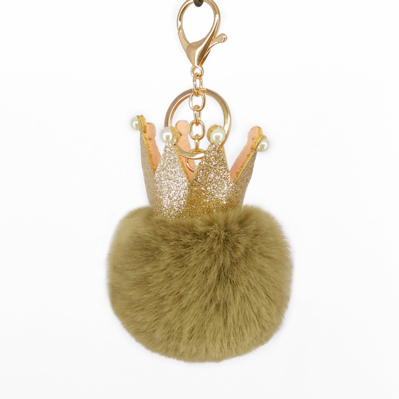 Fashion Sequins Crown Keychain Pompoms Fluffy Ball Keyring For Women Bag Pendants Decoration Key Phone Accessories Mothers Gifts