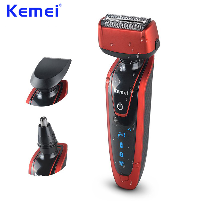 KEMEI 3 in 1 Rechargeable Electric Shaver Waterproof Twin Blade Reciprocating Razor Men Face Care Trimmer barba masculina BT-087 kemei electric shaver reciprocating 3 in 1 razor rechargeable twin blade shaving razors men face care 3d floating km 5889