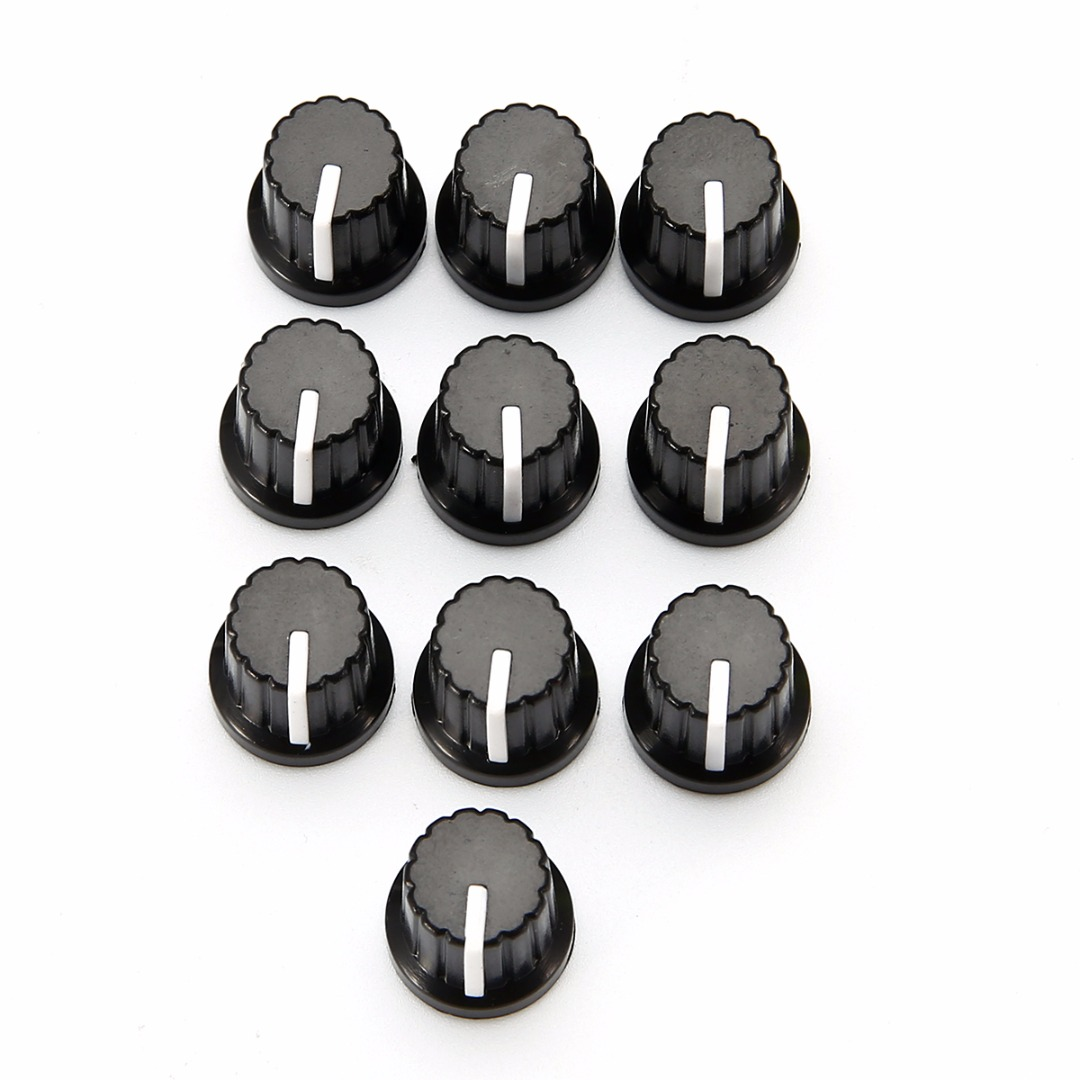 10 шт., черная пластиковая крышка для регулятора громкости потенциометра, для потенциометра с отверстием вала 6 мм
