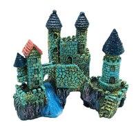 Ancient Cartoon Castle Tower Aquariums Decoration Resin Castle Landscaping For Fish Tank Aquarium Fish Escape Cave