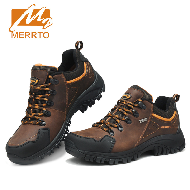 ФОТО Merrto Men Waterproof Hiking Shoes Outdoor Sports Shoes Genuine Leather Sneakers Breathable Walking Mountain Trekking Shoes Men