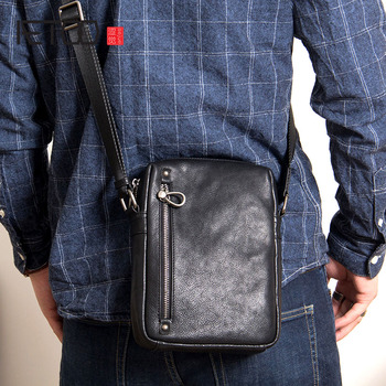 AETOO Men's art retro diagonal bag first layer leather men's leather shoulder bag with small cross-pack