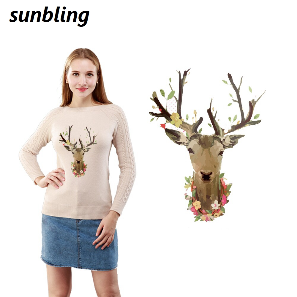 Sunbling Patches Christmas Deer 3D Printed Patch Transfer Iron On T-shirt Women Sweater Clothes Patch Washable Sticker