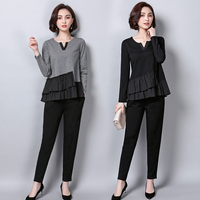 Luoyifxiong New Fashion Ruffles Long Sleeve Tops + Pants 2 Piece Set Women Casual Two Piece Set Office Suit Set Womens Tracksuit