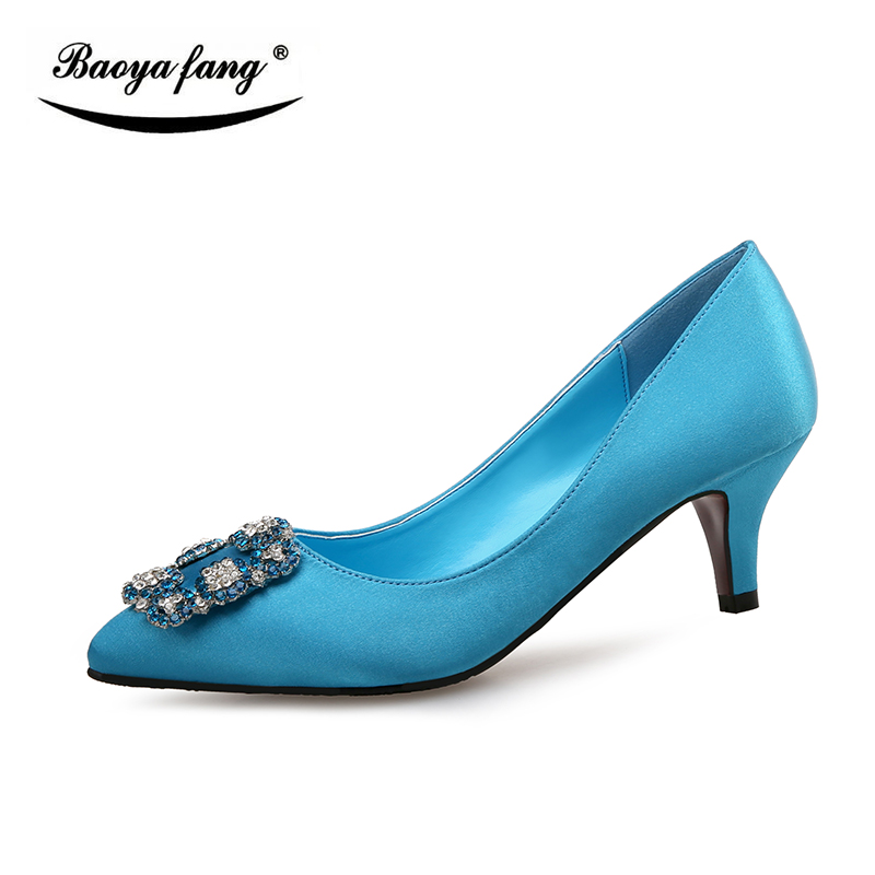 BaoYaFang New Satin Womens Spring/Autumn single shoes ladies 5cm thin heel Pumps Red sole Woman Party shoes Birde weidding shoe new arrival spring and autumn red party shoes peacock woman wedding pumps thin heel sexy night pub shoes