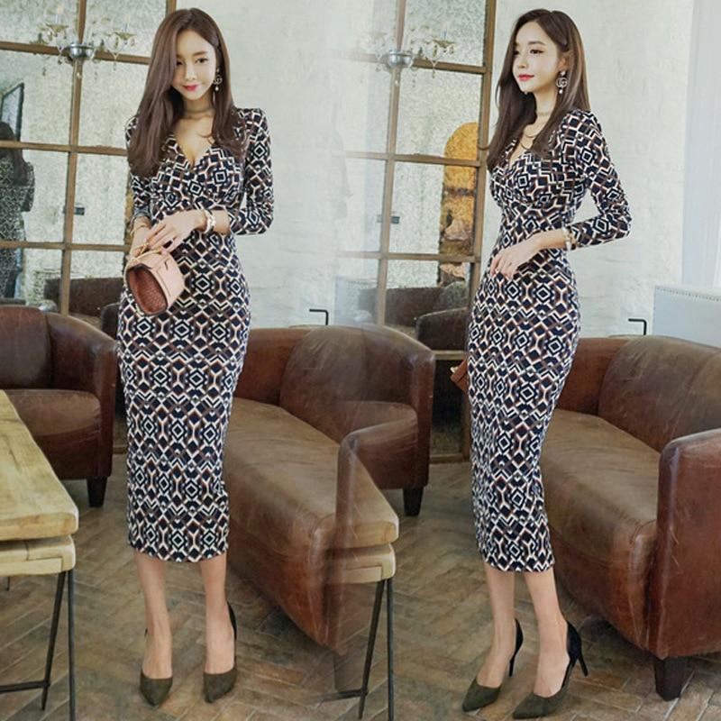 2018 Spring Women Dresses Print V Neck Long Sleeve Vintage B