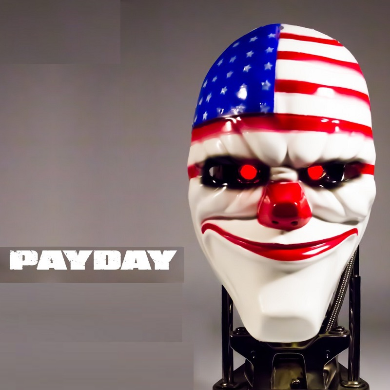 1Pcs NEW Fashion Halloween Mask Payday2 Theme Mask Game Harvest Day 2 Party Clown Funny Mask PVC Mask 22cm*17cm