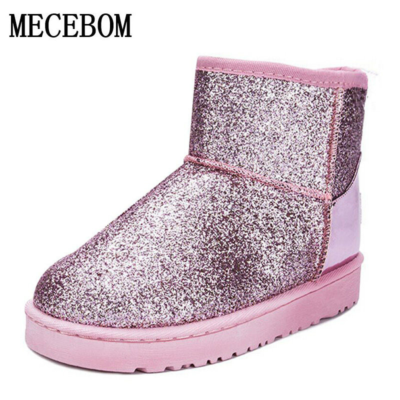2017 Bling Glitter Snow Boots Women Thick Fur Warm Flat Platform Cotton Sequined Cloth Ankle Boots Winter Shoes 5551W