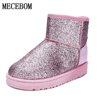 2017 Bling Glitter Snow Boots Women Thick Fur Warm Flat Platform Cotton Sequined Cloth Ankle Boots