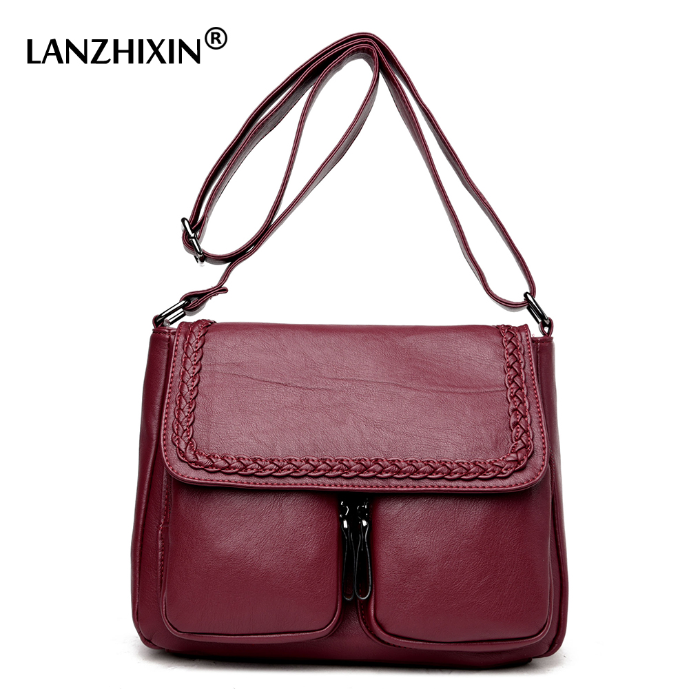 Lanzhixin Women Simple Fashion Leather Tote Bags Vintage Women Messenger Bags Crossbody Bags Middle aged Mother