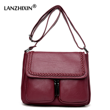 Lanzhixin Frauen Einfache Mode Leder Tragetaschen Frauen Messenger Bags Umhängetaschen Mittleren Alters Mutter Retro Taschen 1036