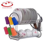 1 Pc 2 Layers Dish Rack Stainless Steel S Shaped Tableware Shelf Plate Cutlery Cup Rack