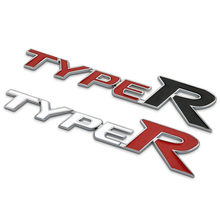 Chrome Metal Zinc Epoxy Typer Car Styling Reing Trunk Logo Type R Emblem Sticker For Honda
