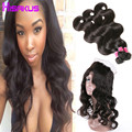 360 Lace Frontal with Bundle Indian Virgin Hair Body Wave with Frontal 3 Bundles with Frontal Closure 360 Frontal with Bundles