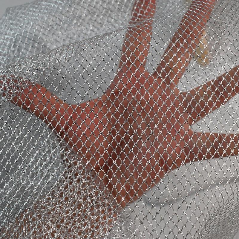 Warp Knitting Fabric Process : Silver net mesh fabric warp knitting fishing