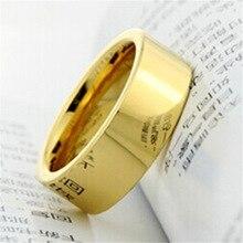 Modyle anillo de compromiso de carburo de tungsteno, 4mm/6mm/8mm, Color dorado