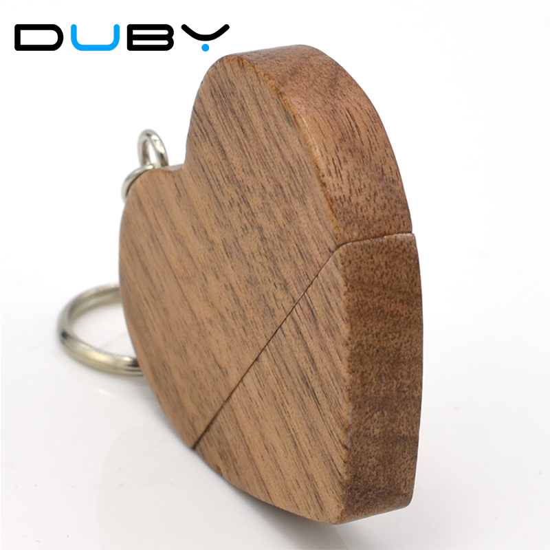 LOGO customized wooden Heart USB Flash Drive Pendrive 128GB 64GB 32GB 16GB 8GB U Disk Memory Stick photography wedding drives
