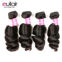 Eullair Волосы Бразильские свободные волнистые волосы ткет 4 шт./лот бразильские пучки предложения 100% натуральный цвет человеческие волосы