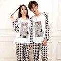 2017 Novo Casal Pijama Feminino Conjunto O-pescoço Manga Longa Totoro Sleepwear Senhora Moda Pijamas roupa Em Casa Conjuntos de Desgaste Para As Mulheres