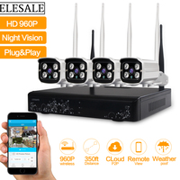 4CH WIFI Security Camera System NVR Kit 960P HD Wireless CCTV Outdoor IP Camera System Home