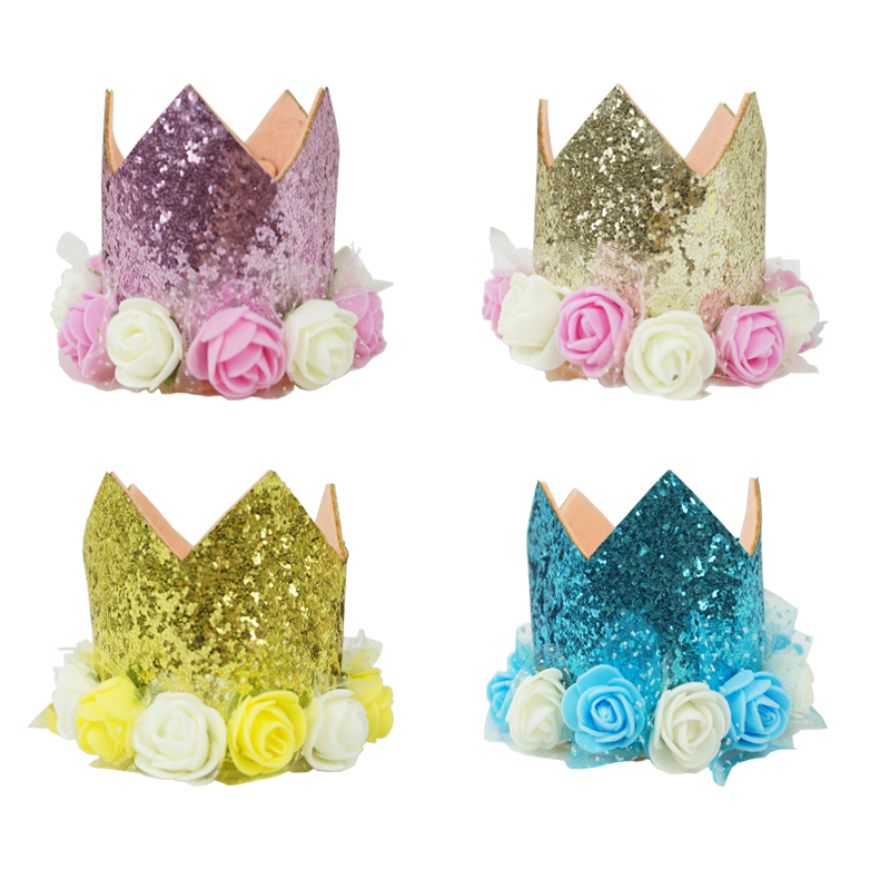 Baby Kids One Sequined 1st Birthday Party Hat Prince Princess Crown Headband