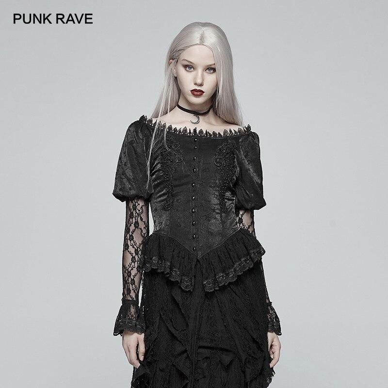 PUNK RAVE femmes chemises gothiques noir victorien dentelle Jacquard Blouse lanterne mode Club femmes Sexy hauts chemise