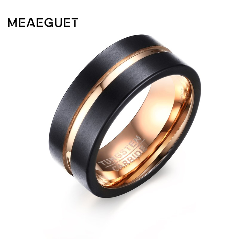 Meaeguet 8MM Wide Black Tungsten Carbide Wedding Ring For Women Trendy Rose Gold Color Groove Rings Wedding Bands USA Size
