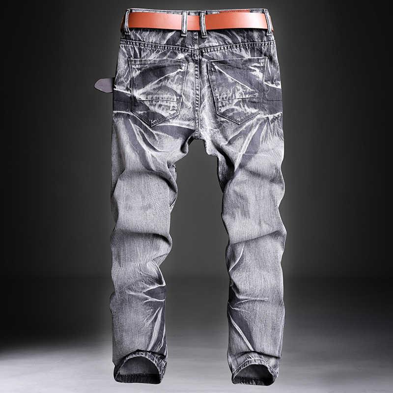 بنطلون جينز رجالي من الجينز للرجال من تصميم كلاسيكي للرجال بنطلون من قماش الدنيم بقصة ضيقة بتصميم ممزق